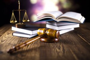law books, gavel, scales